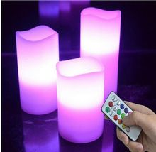 US $328.70 Free shipping 3pcs/set LED Remote Control Electronic Wax Candle 12 Color Changing Flicker Flameless Candle Light Set. Aliexpress product