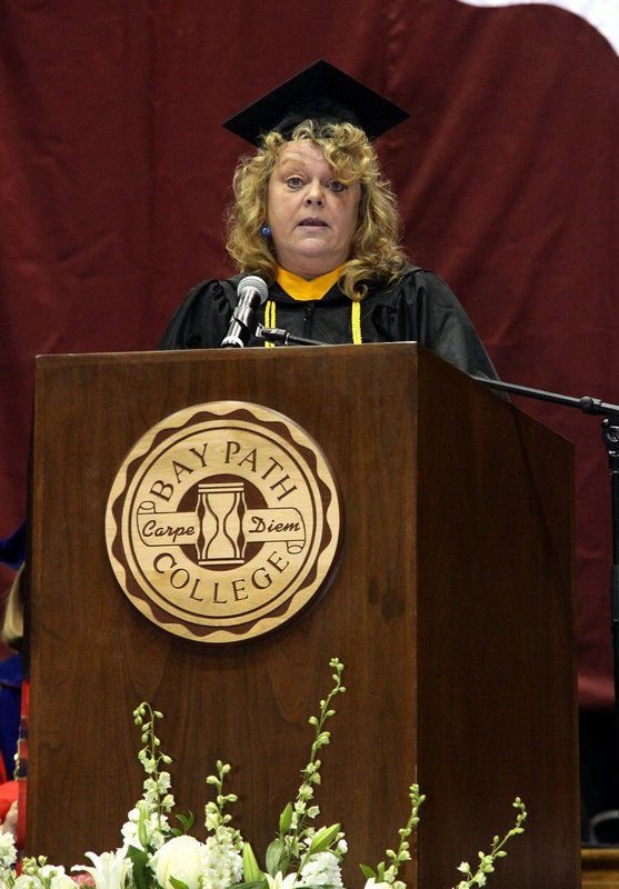 Bay Path College 2012 Commencement 5/13/12. DebraLee Mugford, Bachelor of Science in Business and mother of five sons delivers her Student Address.