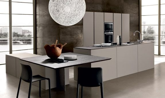 """:: KITCHENS :: Photo Credit: Modulnova Italy. Series: Light.  Lovely incorporation of an eating nook area within an active island, perfect for entertaining. I am one that hates awkward unused corners when it comes to cabinetry, here is a good example of incorporating the very much used """"kitchen nook"""" unlike most traditional home layouts ... #kitchens"""