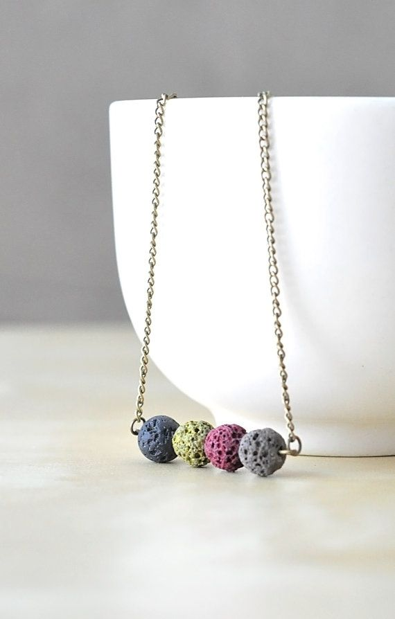 Colored Natural Raw Lava Necklace Natural Stone by CraftDePeRaft, $19.50