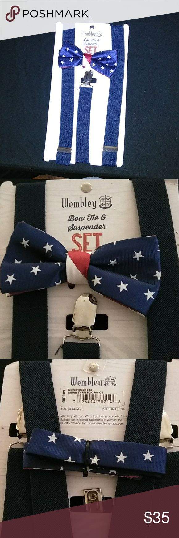 Wembley bow tie & suspender set Brand new never used Wembley Accessories Suspenders