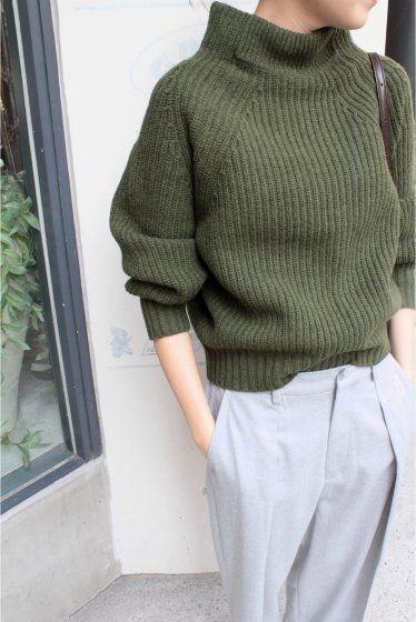 Nice cut for the pants and beautiful green knit