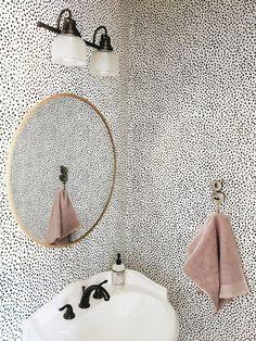 Garvin and Co.: Powder Bath Refresh // that dotty wallpaper // brass mirror