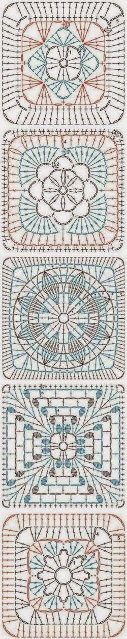 Horgolás minden mennyiségben!!!: Horgolt nagyi négyzet minták