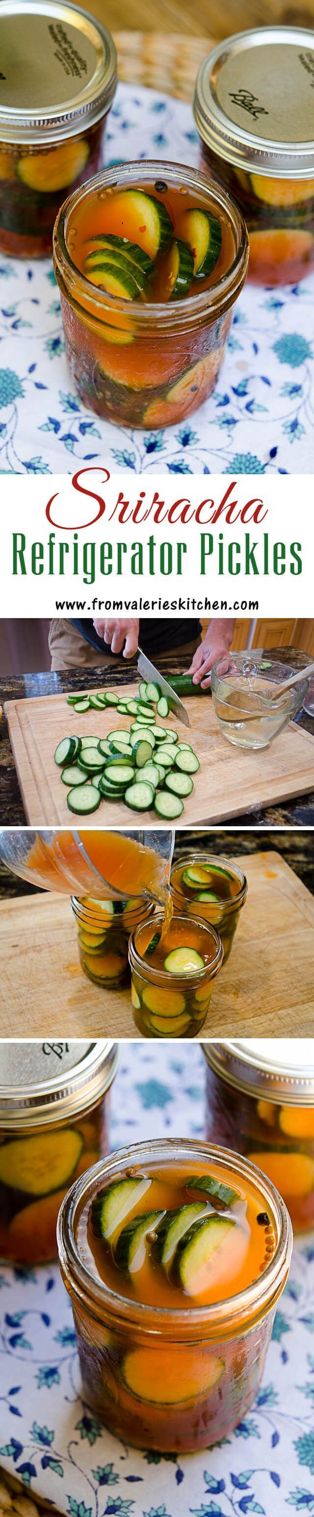 Refrigerator pickles are incredibly easy to make at home. Sriracha adds a little heat and lots of flavor! ~ http://www.fromvalerieskitchen.com