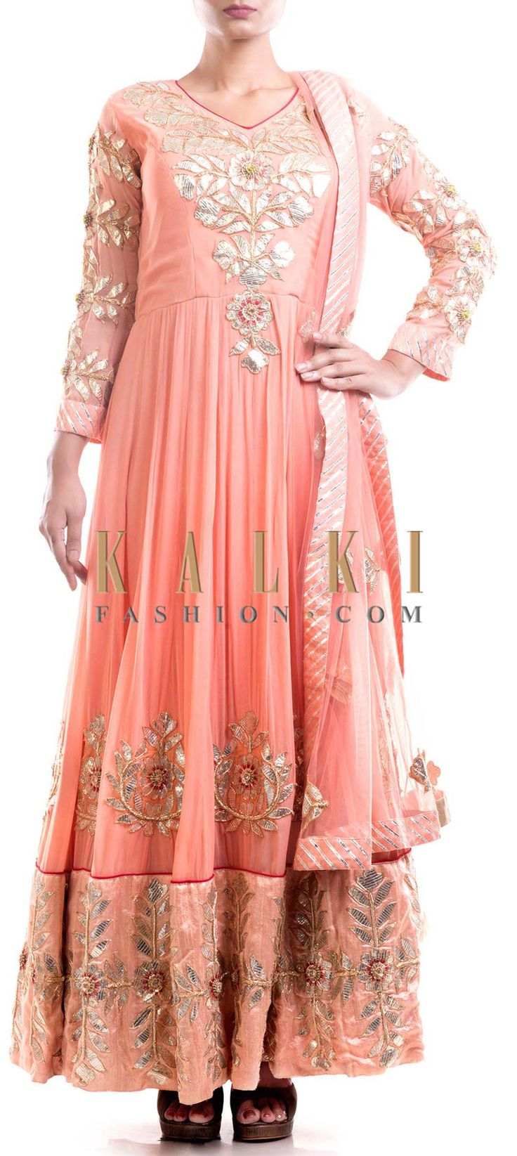 Buy Online from the link below. We ship worldwide (Free Shipping over US$100) Price- $569 Click Anywhere to Tag http://www.kalkifashion.com/peach-gota-suit.html