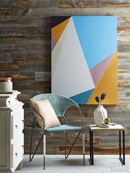 Fill your walls with artwork painted by you!  This geometric painting features Chalk Paint® by Annie Sloan in Greek Blue, Aubusson Blue, and Paris Grey | Better Homes & Gardens How-to