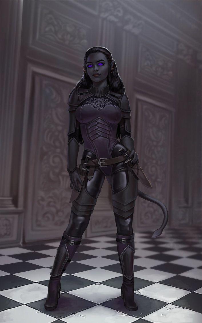 f Drow Elf Tiefling Rogue Assassin Sorcerer multi-class urban City