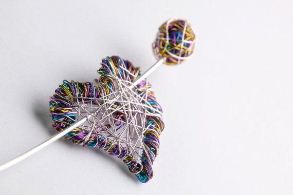 cute, like the idea... Art brooch Heart brooch Purple Heart jewelry Wire heart art Cute brooch Unusual gift for her Contemporary jewelry Sculptural jewelry
