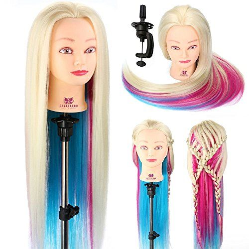 "From 19.99 Neverland Beauty 26"" 100% Synthetic Fiber Long Hair Hairdressing Training Head Manikin Doll Multicolored With Clamp Stand Practice Mannequin"