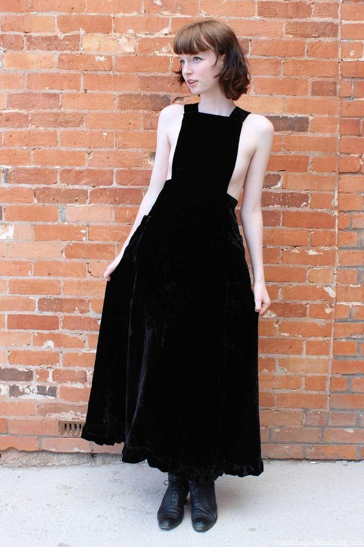 Sexy Homemade Vintage 1970s Black Velvet Dress