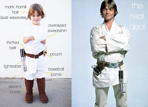 Luke Skywalker costume made from a sweatshirt