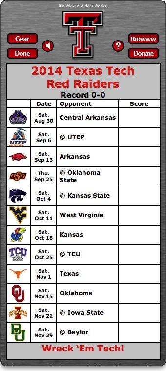 BACK OF WIDGET - Free 2014 Texas Tech Red Raiders Football Schedule Widget for Mac OS X - Wreck 'Em Tech!  http://riowww.com/teamPages/Texas_Tech_Red_Raiders.htm