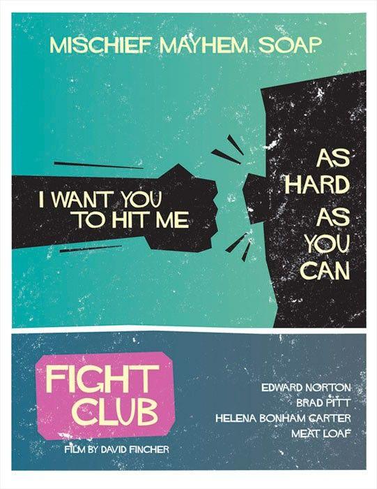 Fight Club  Saul Bass Style Print 12x16 by Wonderbros on Etsy