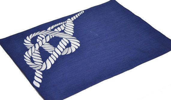 Navy Blue Placemat Linen Placemat Set of 4 White Rope by KainKain