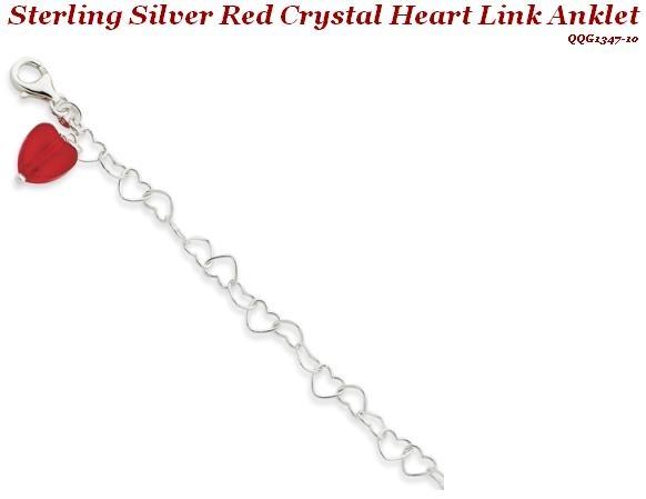 Sterling Silver Red Crystal Heart Link Anklet