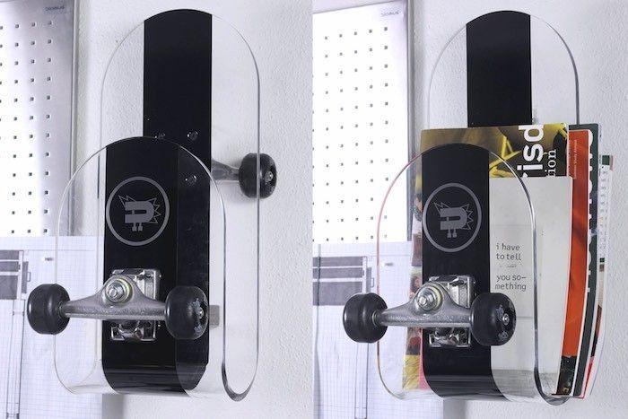 etagère design planche de skate plastique transparent étagères suspendues