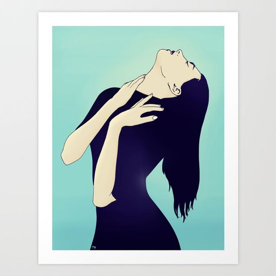 Collect your choice of gallery quality Giclée, or fine art prints custom trimmed by hand in a variety of sizes with a white border for framing. #woman #alluring #navydress #affiliate