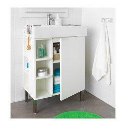 IKEA - LILLÅNGEN, Waschkommode 1 Tür/2 Abschlregale, schwarzbraun, , Die Kante bildet eine praktische Abstellfläche für Seifenschale, Zahnbecher usw.