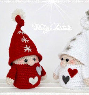Amigurumi Christmas gnomes ( free crochet pattern ) // Horgolt karácsonyi manók ( ingyenes horgolásminta ) // Mindy - craft tutorial collection // #crafts #DIY #craftTutorial #tutorial #SantaCrafts #Santa #ChristmasCrafts