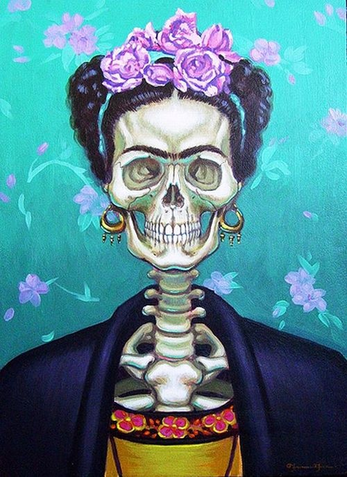 Frida kalho el dia de los muertos homage a loulou de la for Diego rivera day of the dead mural