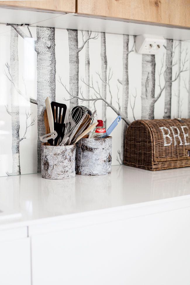 My kitchen. Woods wallpaper.