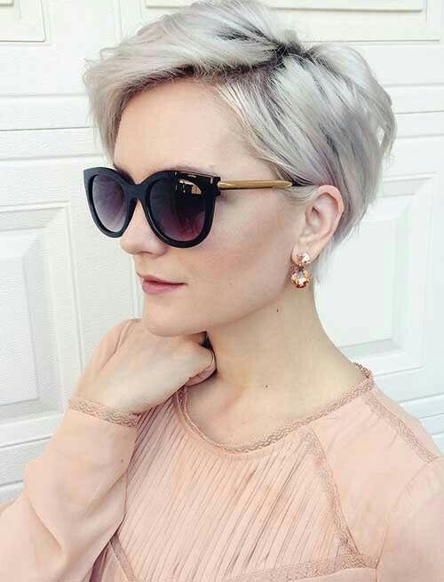 Long pixie cut silver platinum blonde short hair