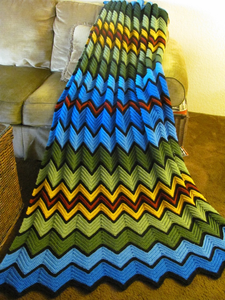 Frankies Choice, Hand Crochet afgan, Ripple design...Made to fit a twin size bed, This afgan is made to order.... $140.00, via Etsy.