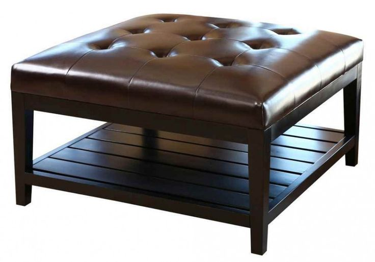Coffee table square leather ottoman coffee table brown tufted leather square coffee table Brown leather ottoman coffee table