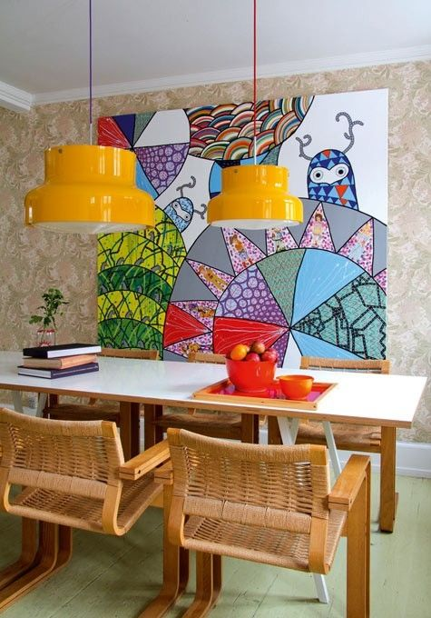 Two yellow bumling pendants. http://indulgy.com/post/LJt9pFEf41/amazing-painting-and-love-the-bumling-lamps