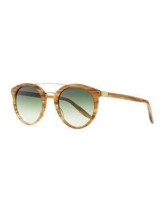 Dalziel Round Sunglasses with Metal Bar, Horn by Barton Perreira at Neiman Marcus.