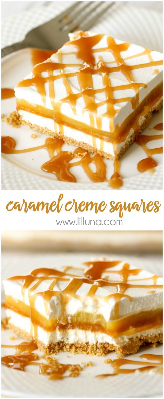 Caramel Creme Squares - 5 delicious layers including graham cracker crumbs, cream cheese, butterscotch and vanilla pudding and topped with Cool Whip and caramel! YUM!! Recipe on { lilluna.com }