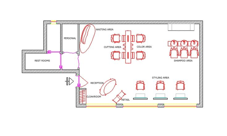 Sample salon floor plan 538 sq ft salon ideas pinterest for Salon layout plans