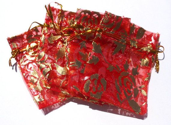 Set of 10 Red and Gold Organza Pouches Ring Bags by GodivaJewels, $2.00