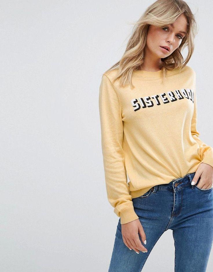 New Look Sisterhood Yellow Sweater - Yellow