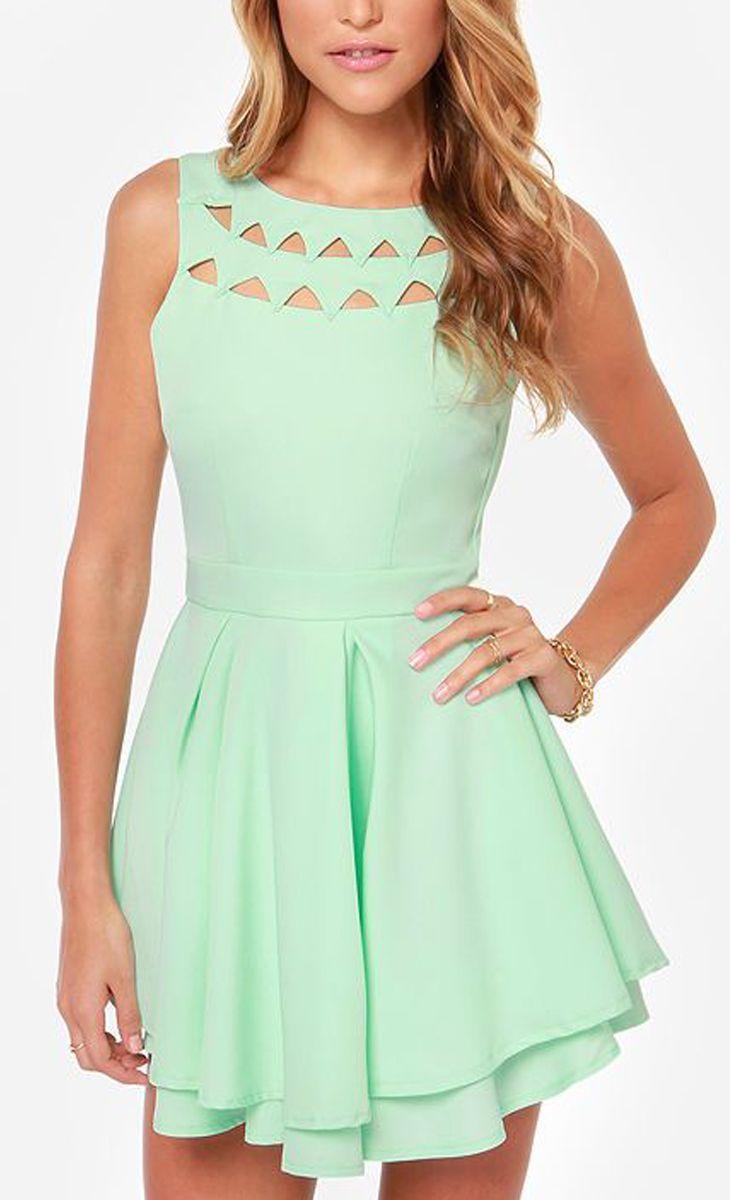 .Cutout Mint Dress ==