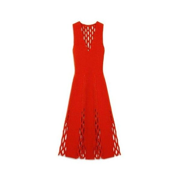Mulberry Agnes Fluted Dress (£910) ❤ liked on Polyvore featuring dresses, sheer v neck dress, see-through dresses, red fishnet dress, fishnet dress and v neck dress