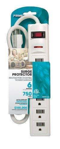 6-Outlet, White, 750J Surge Protector, 3FT #Cord with a Straight Plug. Includes built in circuit breaker to protect against #overloads.