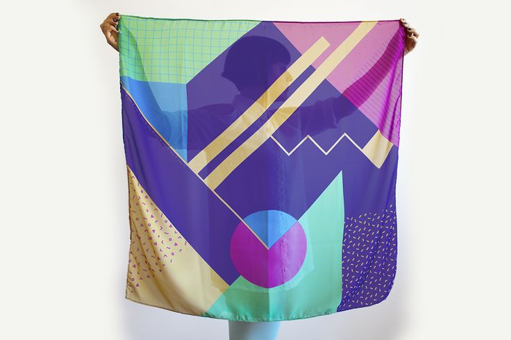 SCARF 90X90cm - 2014 collection RETROMETRIA inspired by the italian Memphis Group.
