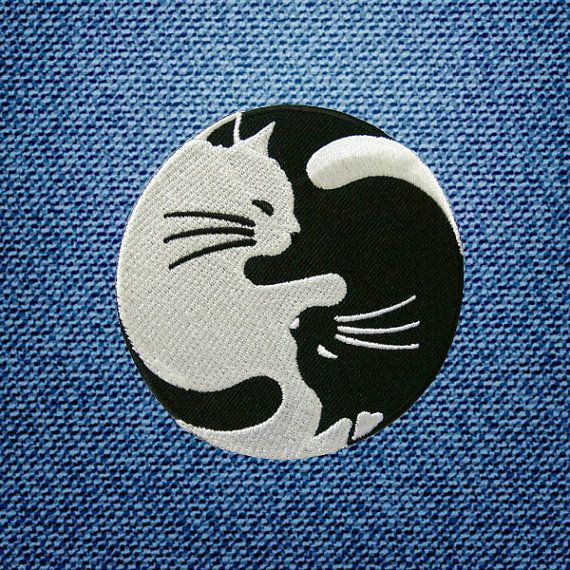 White And Black Cat Yin Yang Yinyang Patch by IronOnDIY on Etsy