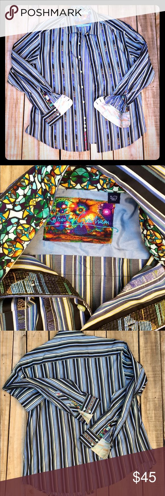 Robert Graham Classic Fit Men's Button Down Shirt Eclectic Artistic Unique Bold Patterns & Rich Colors Collared Button Down Men's Classic Fit Shirt/Dress Shirt by Michael Graham. Contrasting Fabrics Underside & Inside of Collar, Trim on Outside Cuff, Contrast Fabric Underside of Cuff & Inside Vertically of the Button Seams. Almost New!!! Robert Graham Shirts Dress Shirts