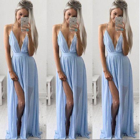 2016 New's Sleeveless Strap V-Neck Slit Dress Off The Shoulder Blue Fashion Chiffon Vestido De Festa High-End Sexy Long Dresses