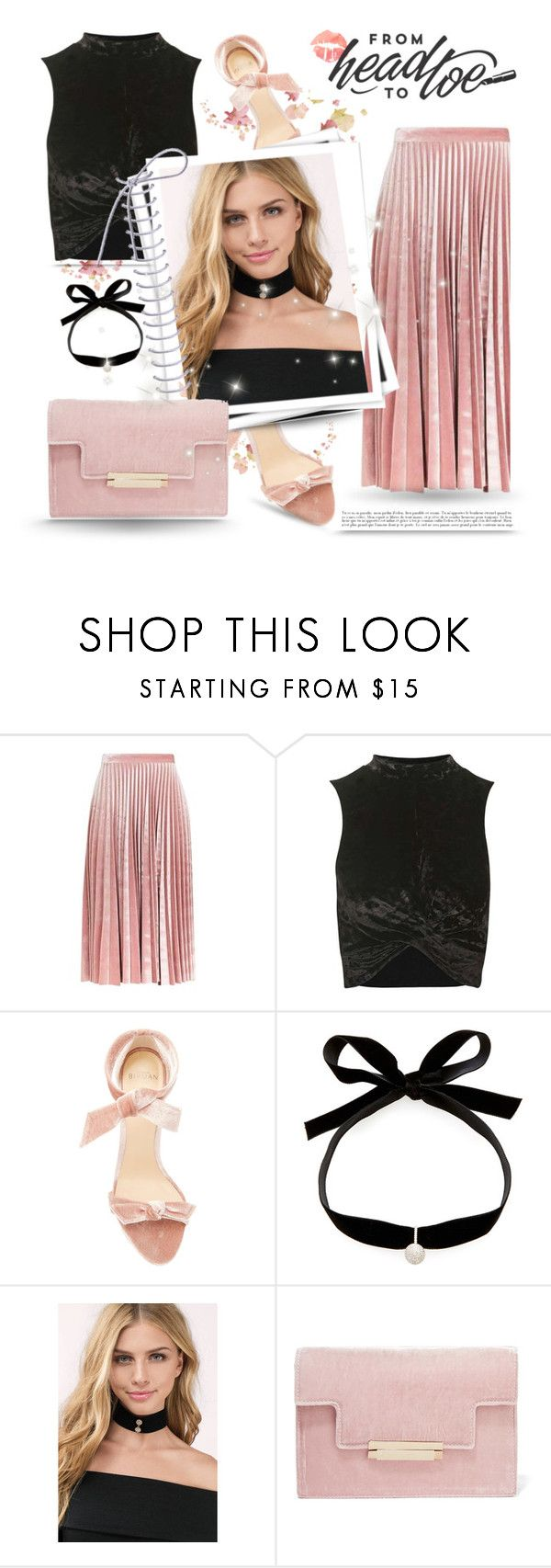 """""""Head to toe"""" by chicpeacelove ❤ liked on Polyvore featuring Topshop, Alexandre Birman, Mateo, Tobi, GALA, AERIN, velvet and fashionset"""