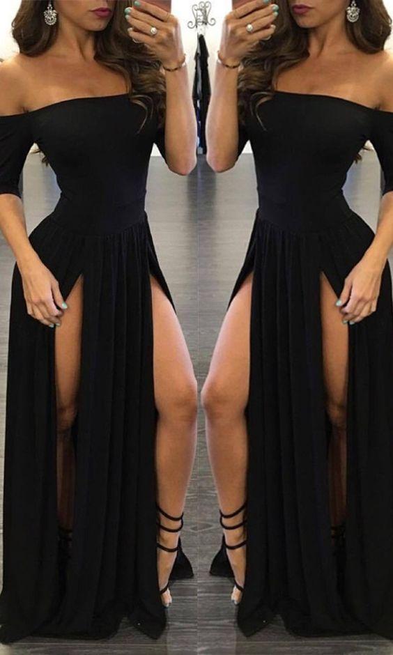 Off-the-shoulder Prom Dresses Black Split Evening Dresses 2017 Half Sleeve Sexy Chiffon Prom Dress Sexy Chiffon Off-the-shoulder Split Half-Sleeve Black Prom Dress