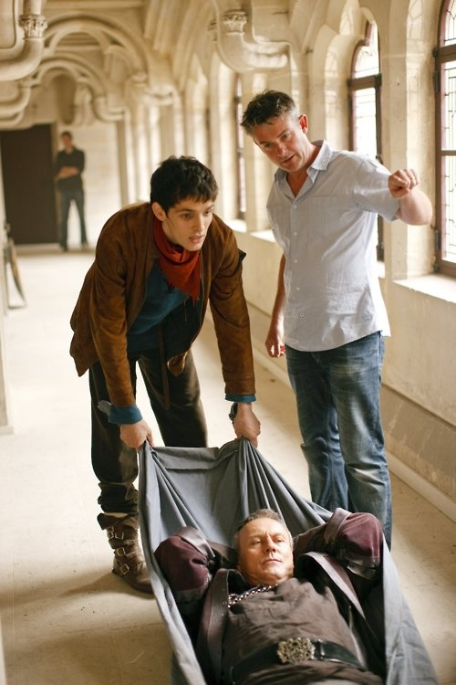 "On Set ""Merlin"" - Anthony Head and Colin Morgan. Love how Anthony is just chillin"