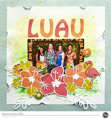 Luau - scrapbook layout created with the Cocoa Vanilla Studios Colour Me Happy papers that were in the August Clique Kit. Cut files from Clique Kits as well as exclusive flair buttons. Flamingo is from TopDog dies. 43m