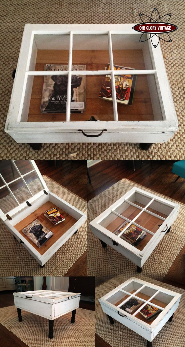 Reclaimed window coffee tables. Love the fact it opens for storage. What a great way to show things off