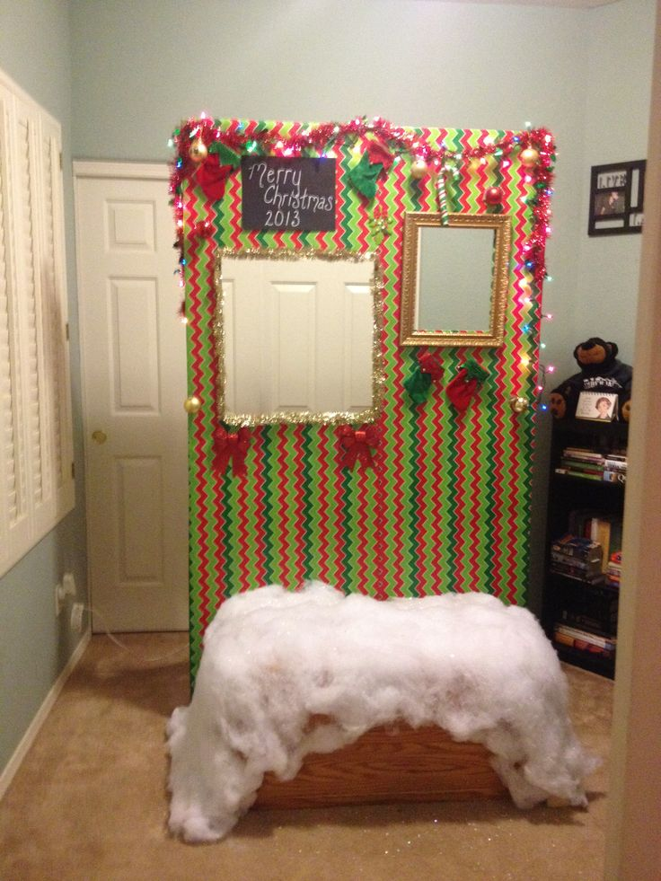 Christmas party photo booth. Making a custom booth or just draping cloth will work!