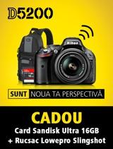 Incepand cu 18 decembrie 2012, ora 18:00, veti gasi aparatul foto Nikon 5200 KIT 18-55 VR la partenerii oficiali din Romania. Pana pe 31 decembrie, la achizitionare primesti CADOU un card SANDISK ULTRA 16GB si rucsacul LOWEPRO SLINGSHOT.