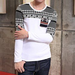 $13.90 Geometric Pattern Round Beck Long Sleeves Polyester T-shirt